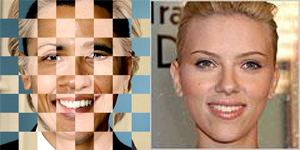 Barack Obama + Hillary Clinton = Scarlett Johansson